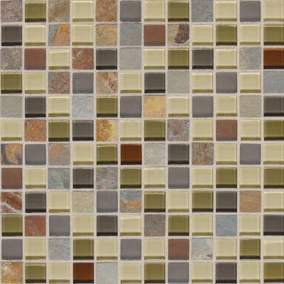 Slate Radiance Cactus 12 in. x 12 in. x 8 mm Glass and Stone Mosaic Blend Wall Tile