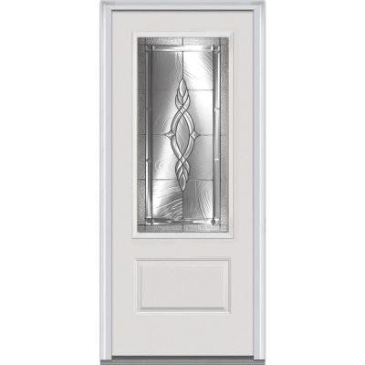 36 in. x 80 in. Brentwood Decorative Glass 3/4 Lite 1-Panel Primed White Fiberglass Smooth Prehung Front Door