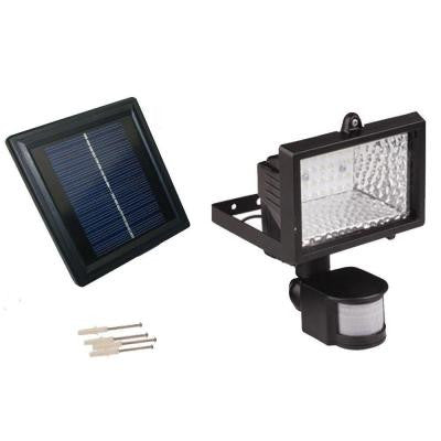 Solar Powered 50 ft. Range Black Motion Outdoor 28-LED Security Flood Light