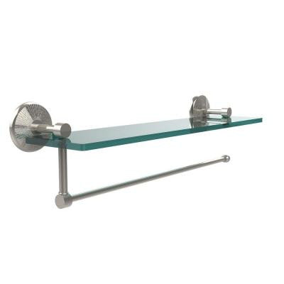 Prestige Monte Carlo Collection Paper Towel Holder with 22 in. W Glass Shelf in Polished Nickel