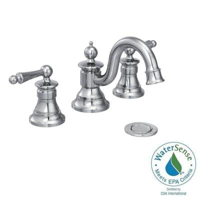 Waterhill 8 in. Widespread 2-Handle High-Arc Bathroom Faucet Trim Kit in Chrome (Valve Sold Separately)