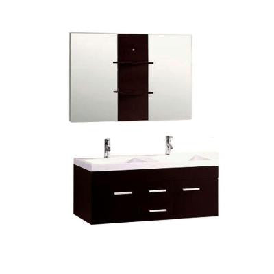 Duma 48 in. Double Vanity in Espresso with Ceramic Vanity Top in White and Mirrors