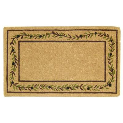 Olive Branch Border Plain 22 in. x 36 in. Coir Door Mat