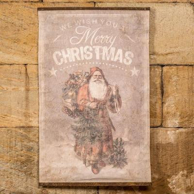 25 in. x 40 in. Faded Light Gray Vintage Santa Christmas Scroll