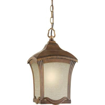 1-Light Outdoor Rustic Sienna Pendant with Umber Linen Glass Panels