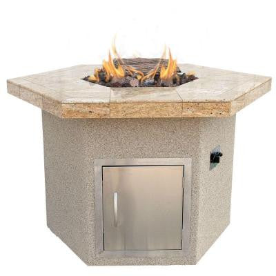 Stucco and Tile Dining Height Hexagon Propane Gas Fire Pit