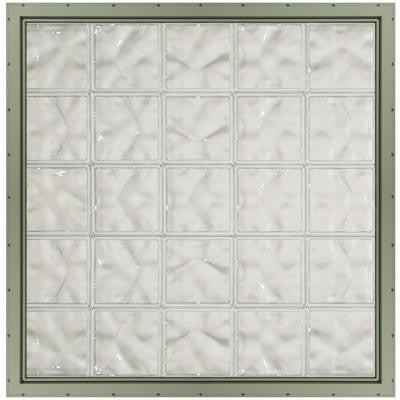 39.25 in. x 39.25 in. x 3.25 in. Wave Pattern Glass Block Window with Clay Colored Vinyl Nailing Fin