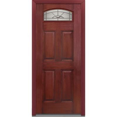 36 in. x 80 in. Master Nouveau Deco Glass Segmented 1/4 Lite 4-Panel Finished Mahogany Fiberglass Prehung Front Door