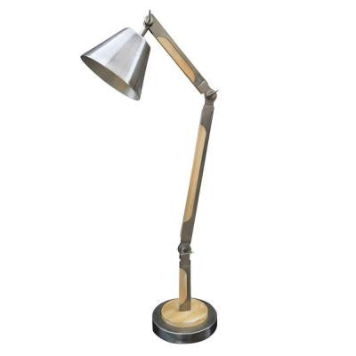 Asgard 30 in. Antique Silver and Pinewood Desk Lamp