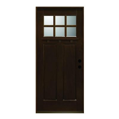 36 in. x 80 in. Craftsman Collection 6 Lite Prefinished Antique Mahogany Type Solid Wood Prehung Front Door
