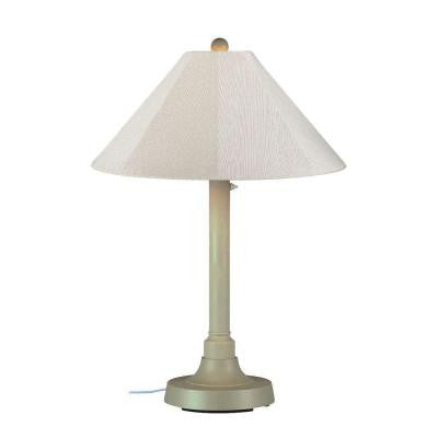 San Juan 34 in. Outdoor Bisque Table Lamp with Canvas Linen Shade