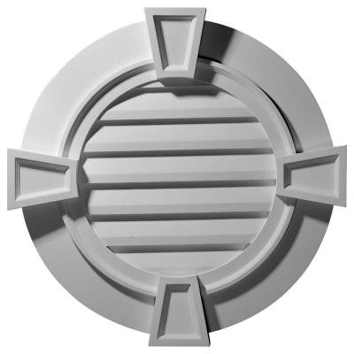 2-1/4 in. x 35-5/8 in. x 35-1/8 in. Decorative Round Gable Vent with Keystones