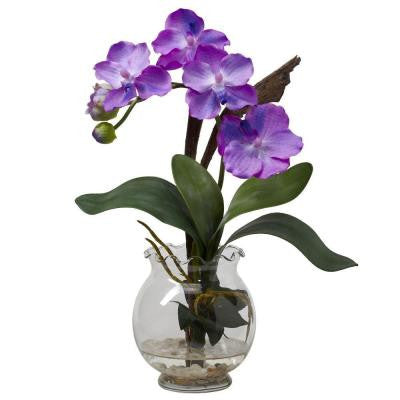 15 in. H Purple Mini Vanda with Fluted Vase Silk Flower Arrangement