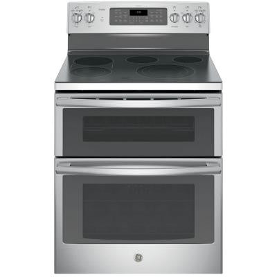 Profile 30 in. 6.6 cu. ft. Double Oven Electric Range with Self-Cleaning Convection Oven (Lower Oven) in Stainless Steel