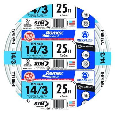 25 ft. 14/3 SIMpull White NM-B Wire