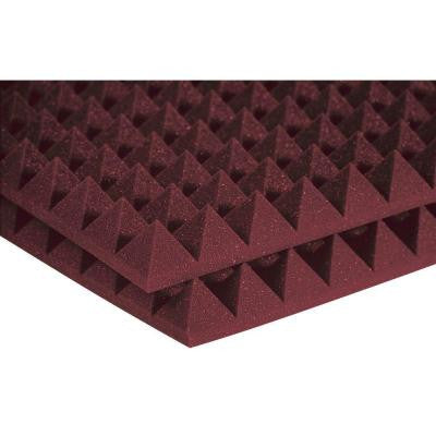 2 ft. W x 2 ft. L x 2 in. H Studio Foam Pyramid Panels - Burgundy (Half-Pack: 12 Panels per Box)