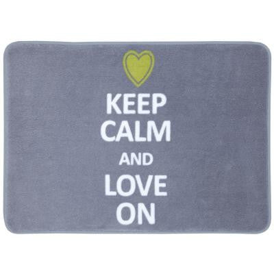 Keep Calm and Love on Gray 17 in. x 24 in. Bath Rug