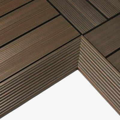 Quick Deck 2 in. x 1 ft Composite Deck Tile Inside Corner in Spanish Walnut (2-Pieces/box)