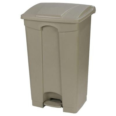 23 Gal. Beige Rectangular Touchless Step-On Trash Can with Matching Lid