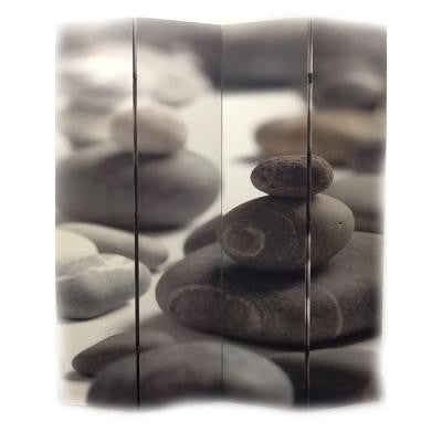 71 in. x 64 in. 4-Panel Calming Stones Printed on Canvas Room Divider