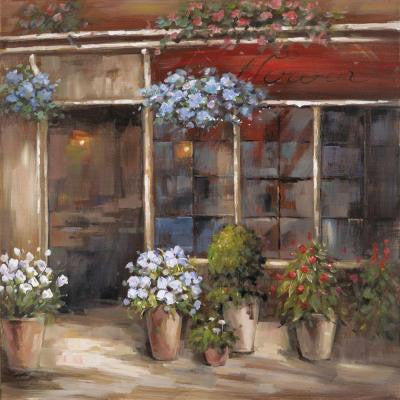 "32 in. x 32 in. ""Flower Shoppe"" Hand Painted Contemporary Artwork"