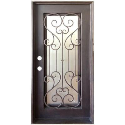36 in. x 80 in. Copper Straight Top Right-Hand Inswing Wrought Iron Single Straight Top Prehung Front Door