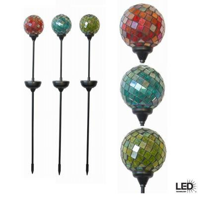 Mosaic Multi-Colored Solar Outdoor LED Gazing Globe (3-Pack)