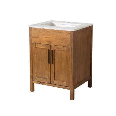 Evangeline 25 in. W x 22 in. D x 33.5 in. H Vanity in Brown with Quartz Vanity Top in White and Basin