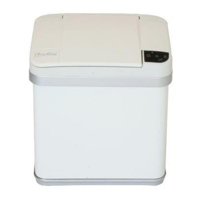 2.5 Gal. Matte Pearl White Touchless Multifunction Trash Can with Deodorizing Carbon Filter Technology
