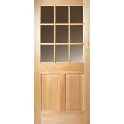 32 in. x 80 in. 9 Lite Unfinished Fir Front Door Slab