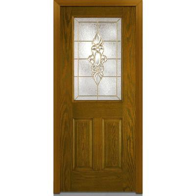 32 in. x 80 in. Heirloom Master Decorative Glass 1/2 Lite 2-Panel Finished Oak Fiberglass Prehung Front Door