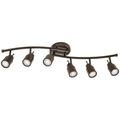 32 in. 6-Light Oil-Rubbed Bronze Linear Step Cylinder Fixed Track Kit
