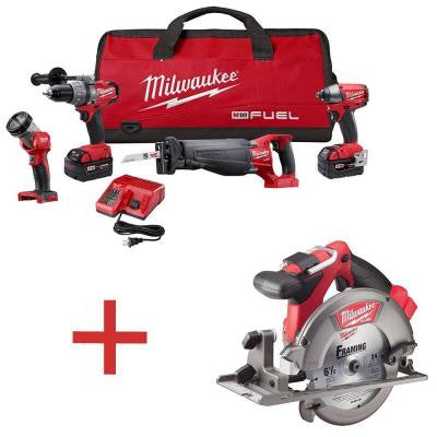 M18 FUEL 18-Volt Brushless Hammer Drill/Impact Driver/Sawzall/LED Light Combo Kit with Free M18 6-1/2 in. Circular Saw
