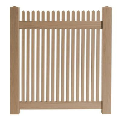 4 ft. x 4 ft. Cedar Grove Redwood Vinyl Picket Fence Gate