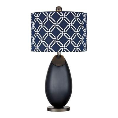 Sevenoakes 25 in. Navy Blue and Black Nickel Table Lamp with Shade