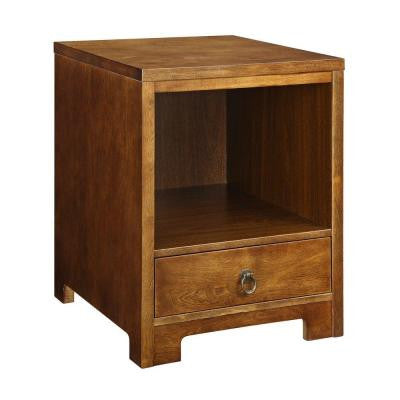 1-Drawer Wood Side Table in Warm Mahogany