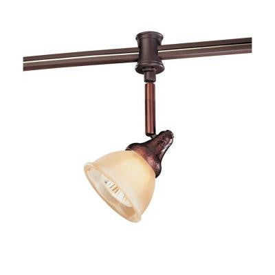 120-Volt Antique Bronze Flexible Track Head with Glass Shade