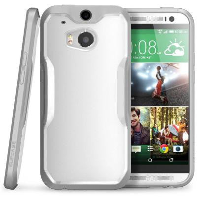 Unicorn Beetle Hybrid Bumper Case for HTC One M8 - White/Gray