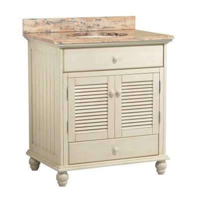 Cottage 31 in. W x 22 in. D Vanity in Antique White with Vanity Top and Stone Effects in Bordeaux