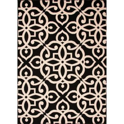 Handmade Black Ink 2 ft. x 3 ft. 7 in. Geometric Accent Rug