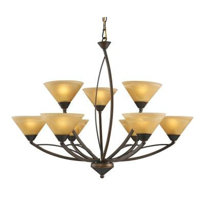 Elysburg 9-Light Aged Bronze Ceiling Mount Chandelier