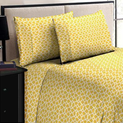 Jill Morgan Fashion Printed Geo Yellow-White Microfiber Twin Sheet Set (3-Piece)