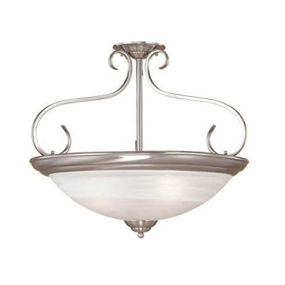 3-Light Satin Nickel Semi Flush Mount with Faux Alabaster Glass