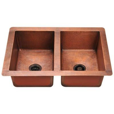 Undermount Copper 33 in. Double Bowl Kitchen Sink