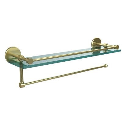 Prestige Skyline Collection Paper Towel Holder with 22 in. W Gallery Glass Shelf in Satin Brass