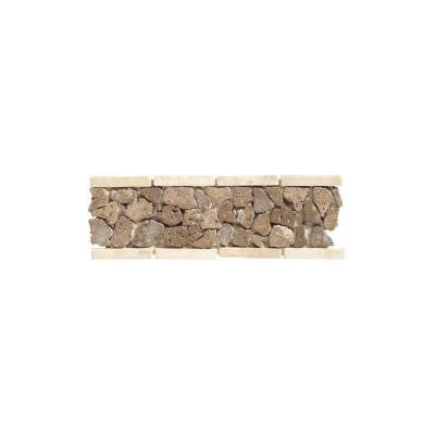 Travertine Walnut Pebble 4 in. x 12 in. Tumbled Slate Liner Accent Wall Tile