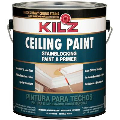White Flat 1-gal. Interior Stainblocking Ceiling Paint and Primer