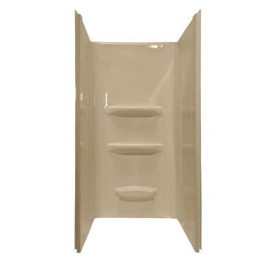 Elite 36 in. x 36 in. x 69 in. 3-piece Direct-to-Stud Shower Wall Kit in Almond