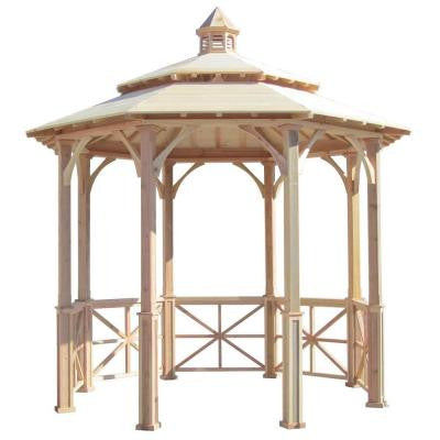 10 ft. Octagon English Cottage Garden Gazebo with 2-Tiered Roof and Cupola - Adjustable for Uneven Patio