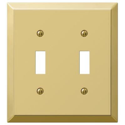 Century Steel 2 Toggle Wall Plate - Brass